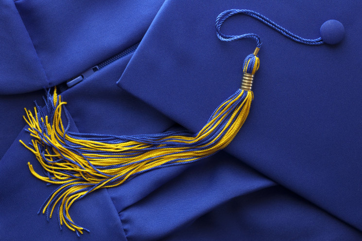 Blue and gold tassel with graduation Cap (Mortar Board) and Gown